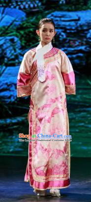 Deling and Cixi Chinese Qing Dynasty Princess Pink Dress Stage Performance Dance Costume and Headpiece for Women