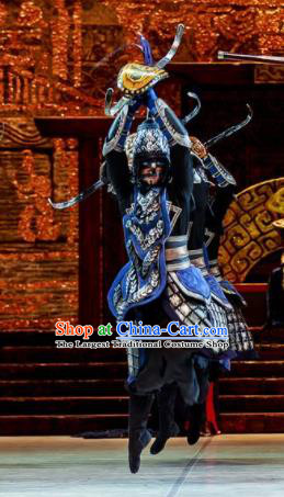 Lady Zhaojun Chinese Han Dynasty General Blue Clothing Stage Performance Dance Costume for Men