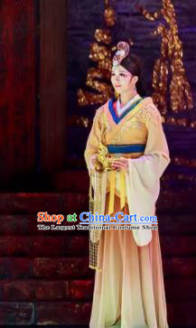 Lady Zhaojun Chinese Han Dynasty Princess Dance Yellow Dress Stage Performance Dance Costume and Headpiece for Women