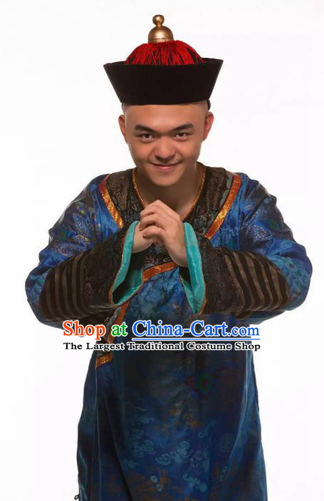 Deling and Cixi Chinese Ancient Qing Dynasty Eunuch Navy Clothing Stage Performance Dance Costume for Men