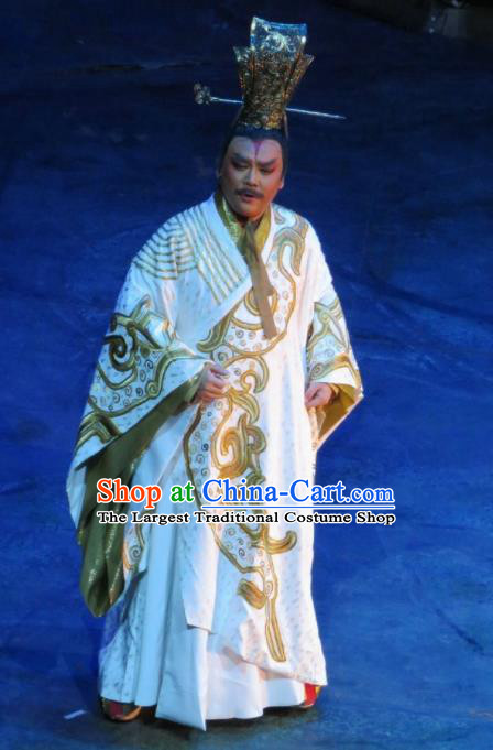 Chinese King Zhuang of Chu Ancient Emperor White Clothing Stage Performance Dance Costume for Men