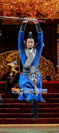 Lady Zhaojun Chinese Han Dynasty Swordsman Blue Clothing Stage Performance Dance Costume for Men