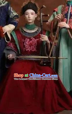 Chinese Pingtan Impression Ancient Qing Dynasty Red Dress Stage Performance Dance Costume and Headpiece for Women