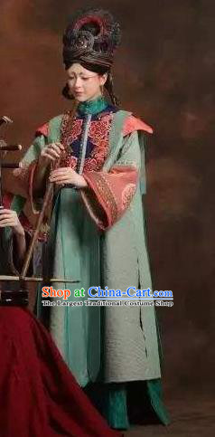 Chinese Pingtan Impression Ancient Qing Dynasty Green Dress Stage Performance Dance Costume and Headpiece for Women