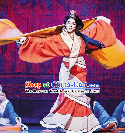 Chinese Lady Zhaojun Ancient Han Dynasty Court Lady Dress Stage Performance Dance Costume and Headpiece for Women