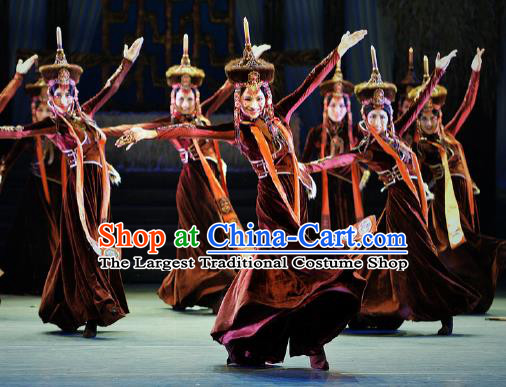 Chinese Lady Zhaojun Mongol Nationality Dance Dress Stage Performance Dance Costume and Headpiece for Women