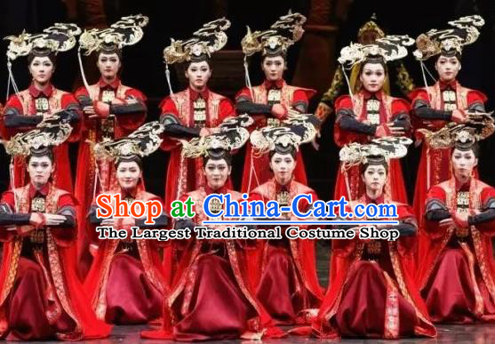 Nostalgia Is A Disease Chinese Qing Dynasty Court Lady Red Dress Stage Performance Dance Costume and Headpiece for Women