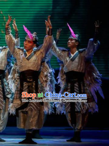 Sunsets Chinese Classical Dance Ancient Swordsman Clothing Stage Performance Dance Costume for Men