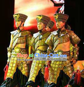 Rainbow Tribe Chinese Tu Minority Clothing Stage Performance Dance Costume and Headpiece for Men