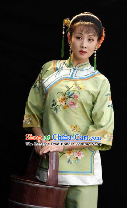 Huizhou Beauty Chinese Huangmei Opera Green Dress Stage Performance Dance Costume and Headpiece for Women