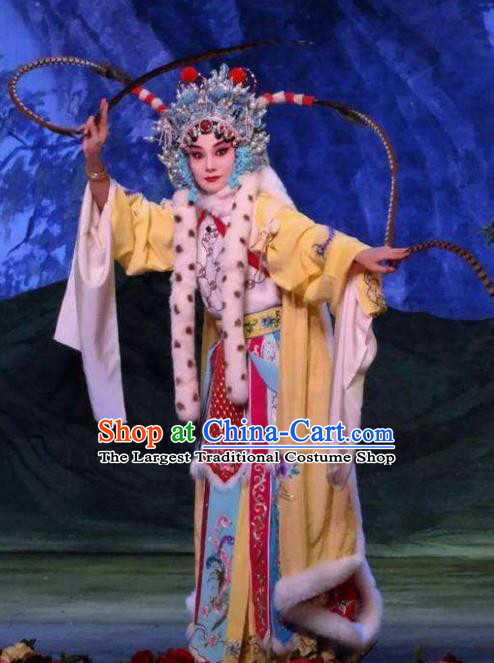 Han Consort Ming Chinese Peking Opera Blues Dress Stage Performance Dance Costume and Headpiece for Women