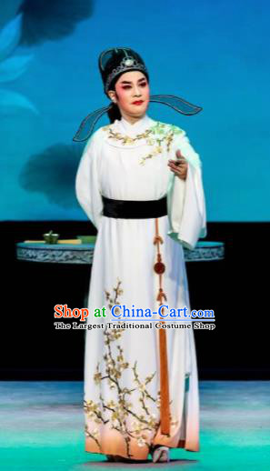 Phoenix Hairpin Chinese Peking Opera Niche White Clothing Stage Performance Dance Costume and Headpiece for Men