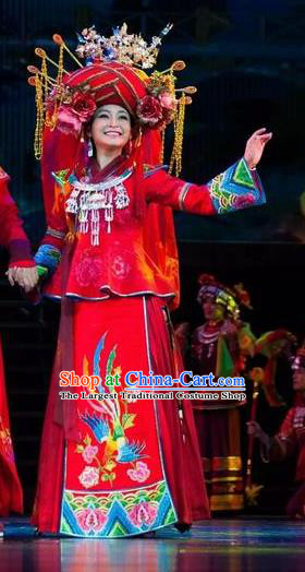 Huang Si Jie Chinese Tujia Minority Wedding Red Dress Stage Performance Dance Costume and Headpiece for Women