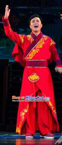 Huang Si Jie Chinese Tujia Minority Bridegroom Red Clothing Stage Performance Dance Costume and Headpiece for Men