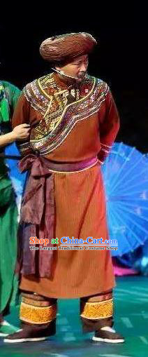 Huang Si Jie Chinese Tujia Minority Brown Clothing Stage Performance Dance Costume and Headpiece for Men
