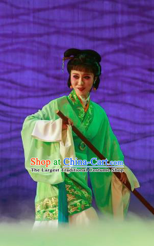 Chinese Shaoxing Opera Bronze Swallow Terrace Green Dress Stage Performance Dance Costume and Headpiece for Women