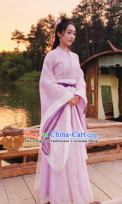 The Untamed Chinese Drama Ancient Taoist Nun Swordsman Jiang Yanli Purple Costumes and Headpiece for Women