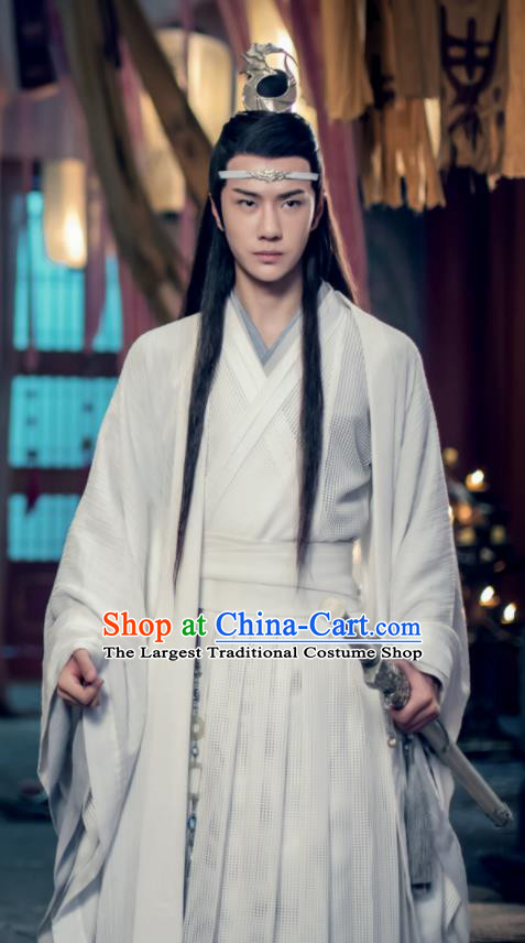 Chinese Drama The Untamed Ancient Nobility Childe Swordsman Lan Wangji Wang Yibo White Costumes for Men