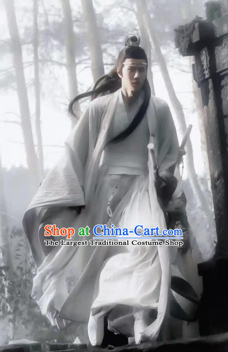 Chinese Drama The Untamed Ancient Nobility Childe Swordsman Wei Wuxian Xiao Zhan White Costumes for Men