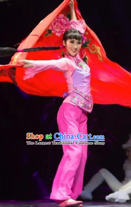Drama Lan Huahua Chinese Folk Dance Pink Dress Stage Performance Dance Costume and Headpiece for Women