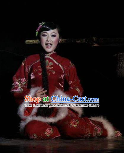 Drama Lan Huahua Chinese Folk Dance Red Dress Stage Performance Dance Costume and Headpiece for Women