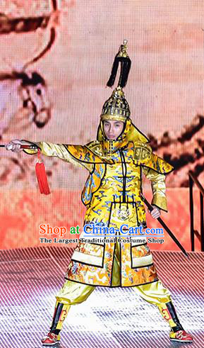 Mu Lan Qiu Xian Ceremony Chinese Ancient Emperor Clothing Stage Performance Dance Costume and Headpiece for Men