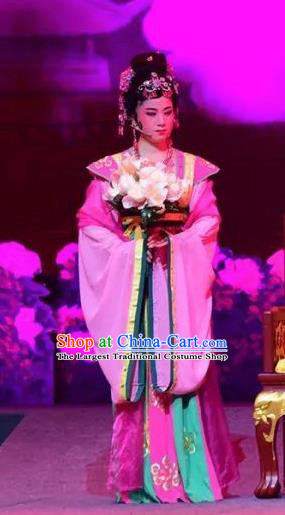 Amber Fate Chinese Beijing Opera Princess Pink Dress Stage Performance Dance Costume and Headpiece for Women