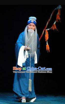 Su Wu In Desert Chinese Beijing Opera Envoy Blue Clothing Stage Performance Dance Costume and Headpiece for Men