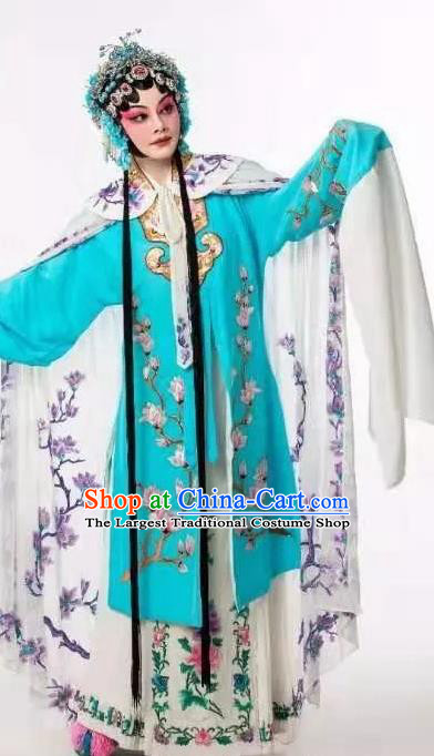 Fan Lihua Chinese Han Opera Diva Blue Dress Stage Performance Dance Costume and Headpiece for Women