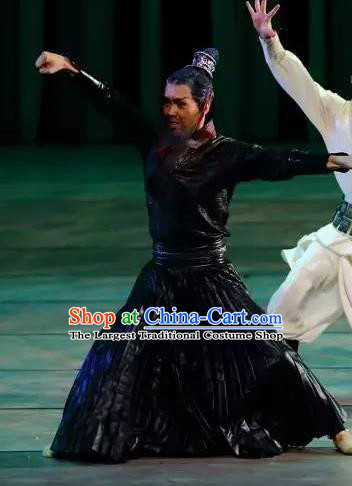 Drama Chinese Orphan Chinese Ancient Swordsman Black Clothing Stage Performance Dance Costume and Headpiece for Men