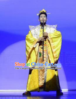 Ganzhou Musical Dance Chinese Ancient Emperor Golden Clothing Stage Performance Dance Costume and Headpiece for Men