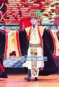 Ganzhou Musical Dance Chinese Ancient Minister Clothing Stage Performance Dance Costume and Headpiece for Men