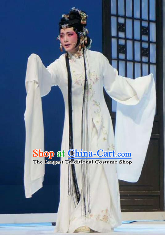 Xiang Luo Ji Chinese Shaoxing Opera White Dress Stage Performance Dance Costume and Headpiece for Women