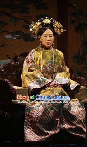Beijing Fayuansi Chinese Qing Dynasty Queen Mother Cixi Dress Stage Performance Dance Costume and Headpiece for Women