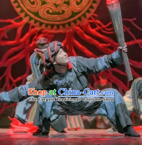 Da Liang Mountains Echo Chinese Traditional Yi Nationality Clothing Stage Performance Dance Costume for Men