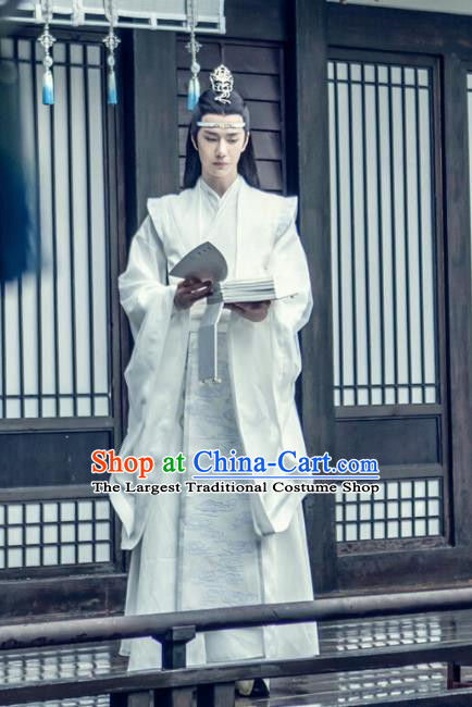 The Untamed Chinese Drama Ancient Nobility Childe Swordsman Lan Wangji Wang Yibo White Costumes for Men