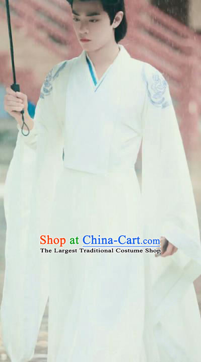 Chinese Drama The Untamed Ancient Swordsman Lan Wangji Xiao Zhan White Costumes for Men