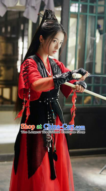 Ancient Chinese Song Dynasty Female Swordsman Red Dress Drama Young Blood Princess Zhao Jian Costumes for Women