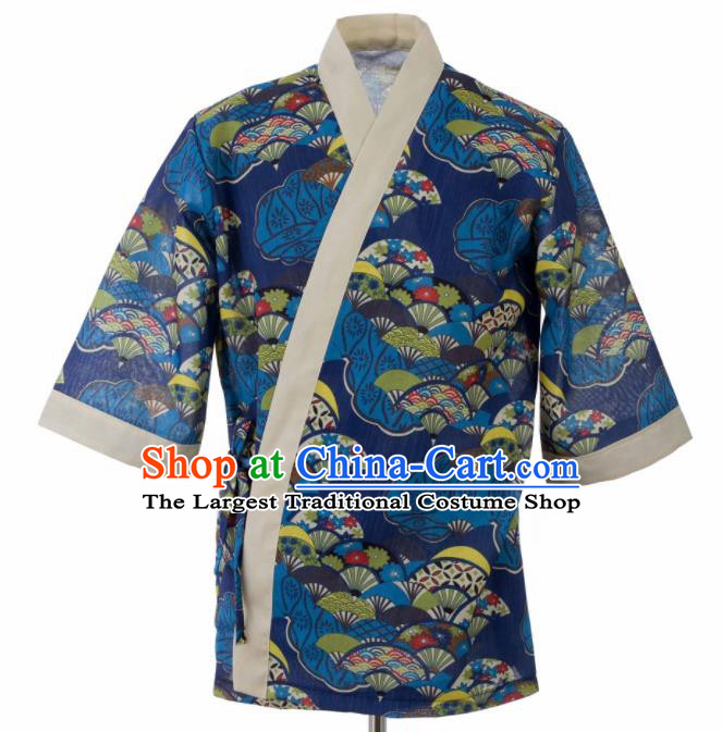 Traditional Japanese Printing Fans Navy Yamato Shirt Kimono Asian Japan Costume for Men