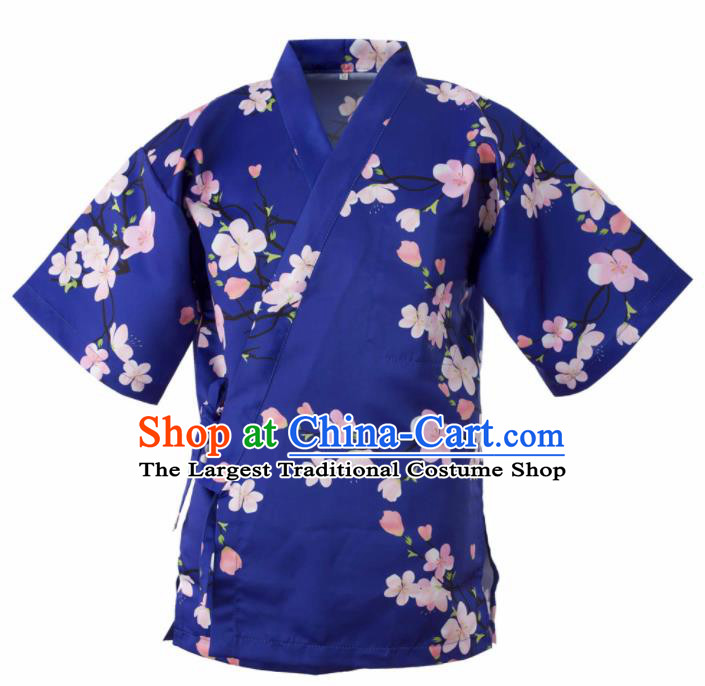 Traditional Japanese Printing Flowers Blue Yamato Shirt Kimono Asian Japan Costume for Men