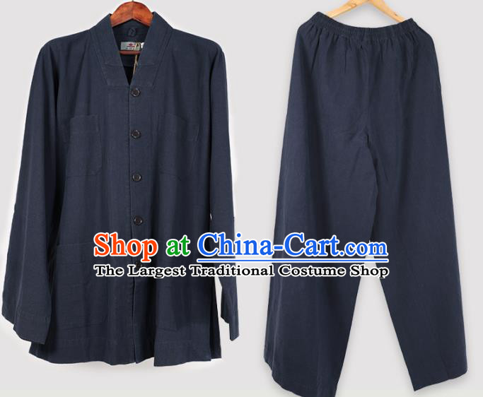 Traditional Chinese Monk Costume Meditation Navy Shirt and Pants for Men