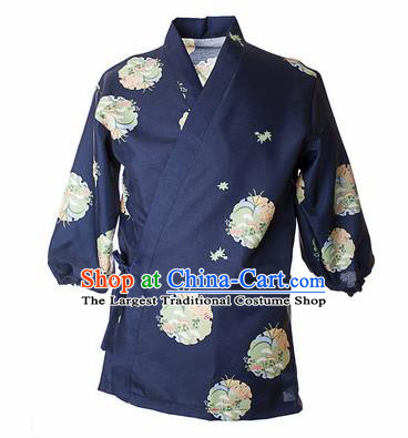 Traditional Japanese Printing Orchid Navy Shirt Kimono Asian Japan Costume for Men