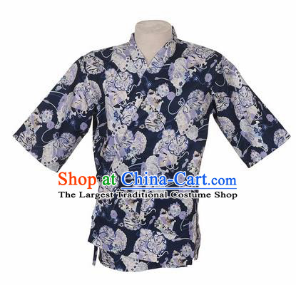 Traditional Japanese Printing Cherry Blossom Navy Blue Shirt Kimono Asian Japan Costume for Men