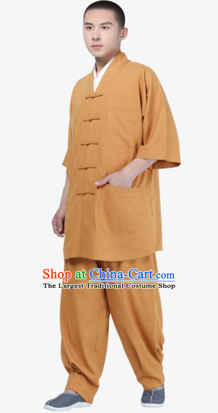 Traditional Chinese Monk Costume Meditation Khaki Shirt and Pants for Men