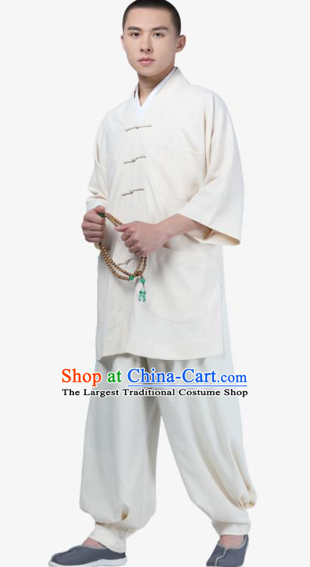 Traditional Chinese Monk Costume Meditation White Shirt and Pants for Men