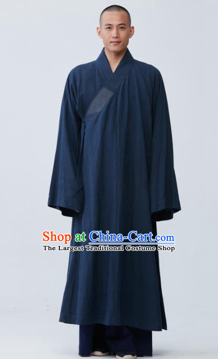Traditional Chinese Monk Costume Navy Long Gown for Men