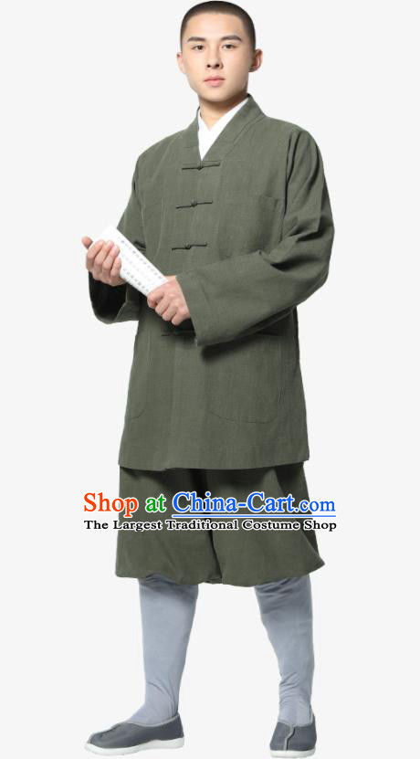 Traditional Chinese Monk Costume Meditation Olive Green Ramie Shirt and Pants for Men