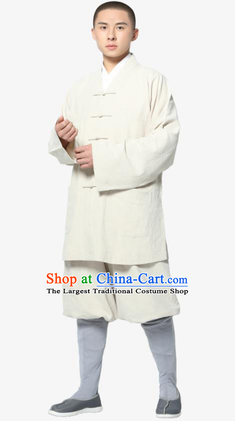 Traditional Chinese Monk Costume Meditation White Ramie Shirt and Pants for Men