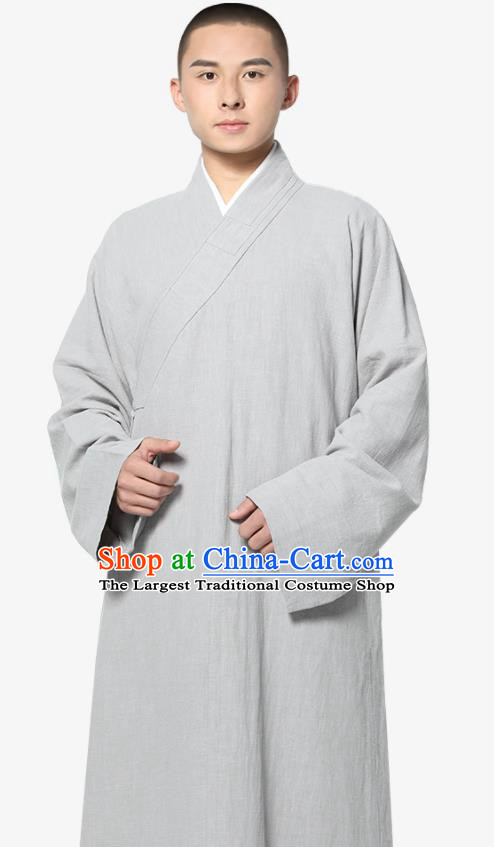 Traditional Chinese Monk Costume Light Grey Ramie Long Gown for Men