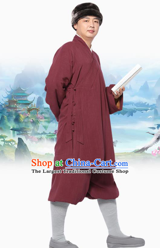 Traditional Chinese Monk Costume Meditation Purplish Red Flax Outfits Shirt and Pants for Men